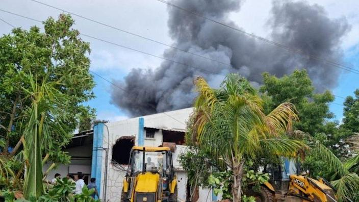 A fire at chemical plant near Pune city in India