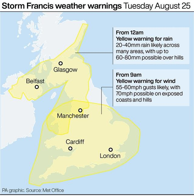Storm Francis weather warnings