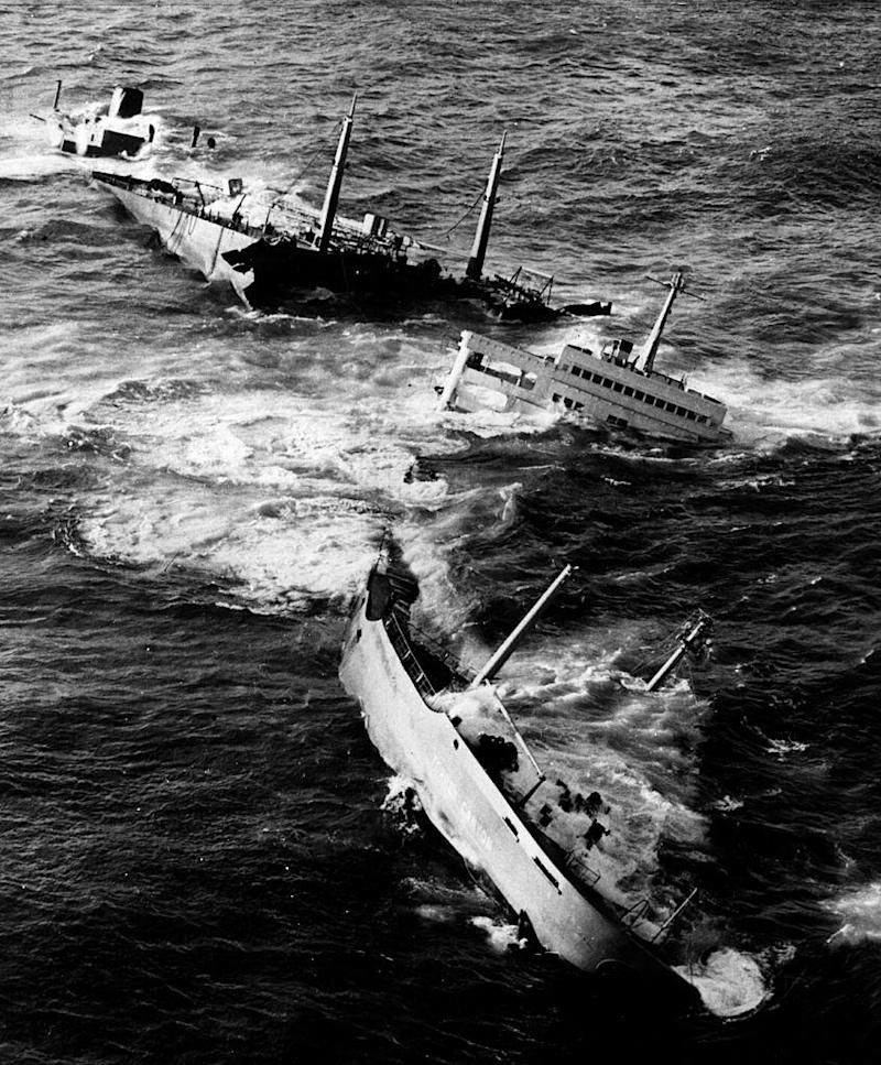 The wrecked tanker Torrey Canyon being broken apart by pounding seas, after she ran aground on Seven Stones Reef, off Lands End, Cornwall (Getty)