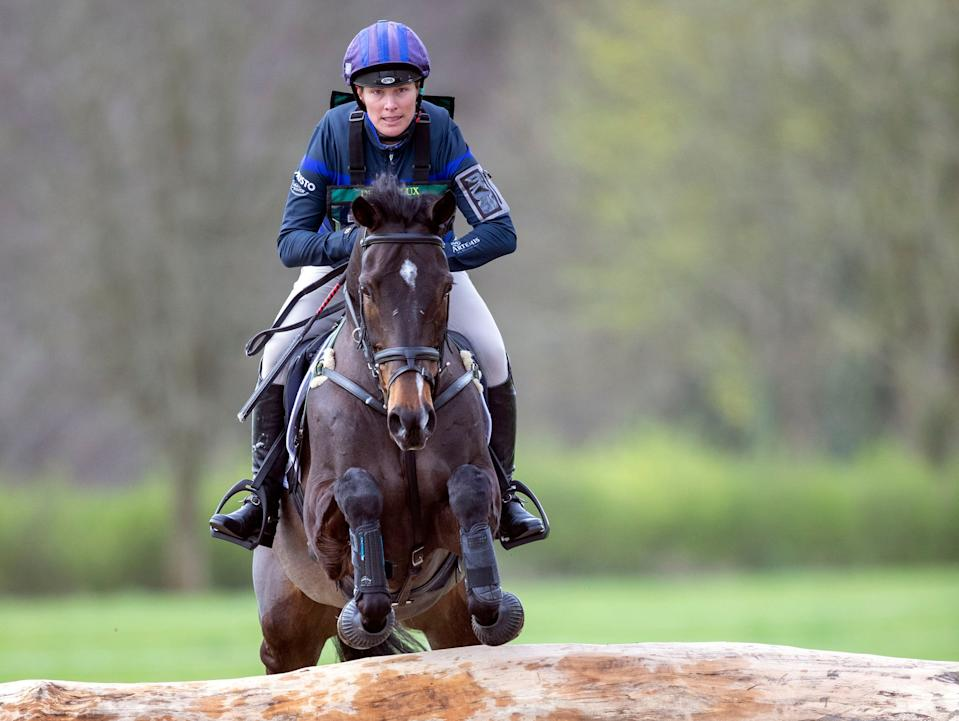 Zara Tindall riding Gladstone competing at the Land Rover Gatcombe Horse Trials on the estate of the Princess Royal.