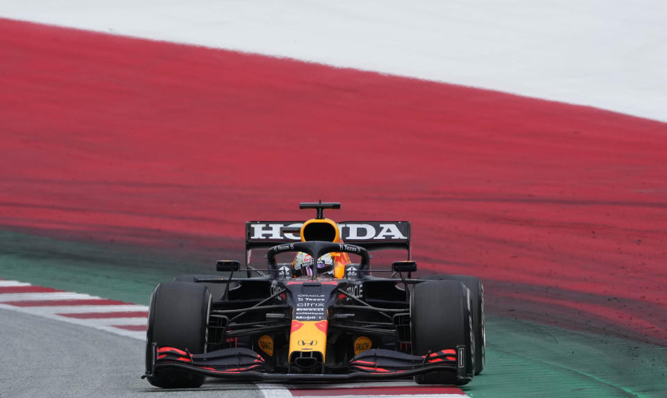 Red Bull driver Max Verstappen of the Netherlands steers his car during the Styrian Formula One Grand Prix at the Red Bull Ring racetrack in Spielberg, Austria, Sunday, June 27, 2021. (AP Photo/Darko Vojinovic)