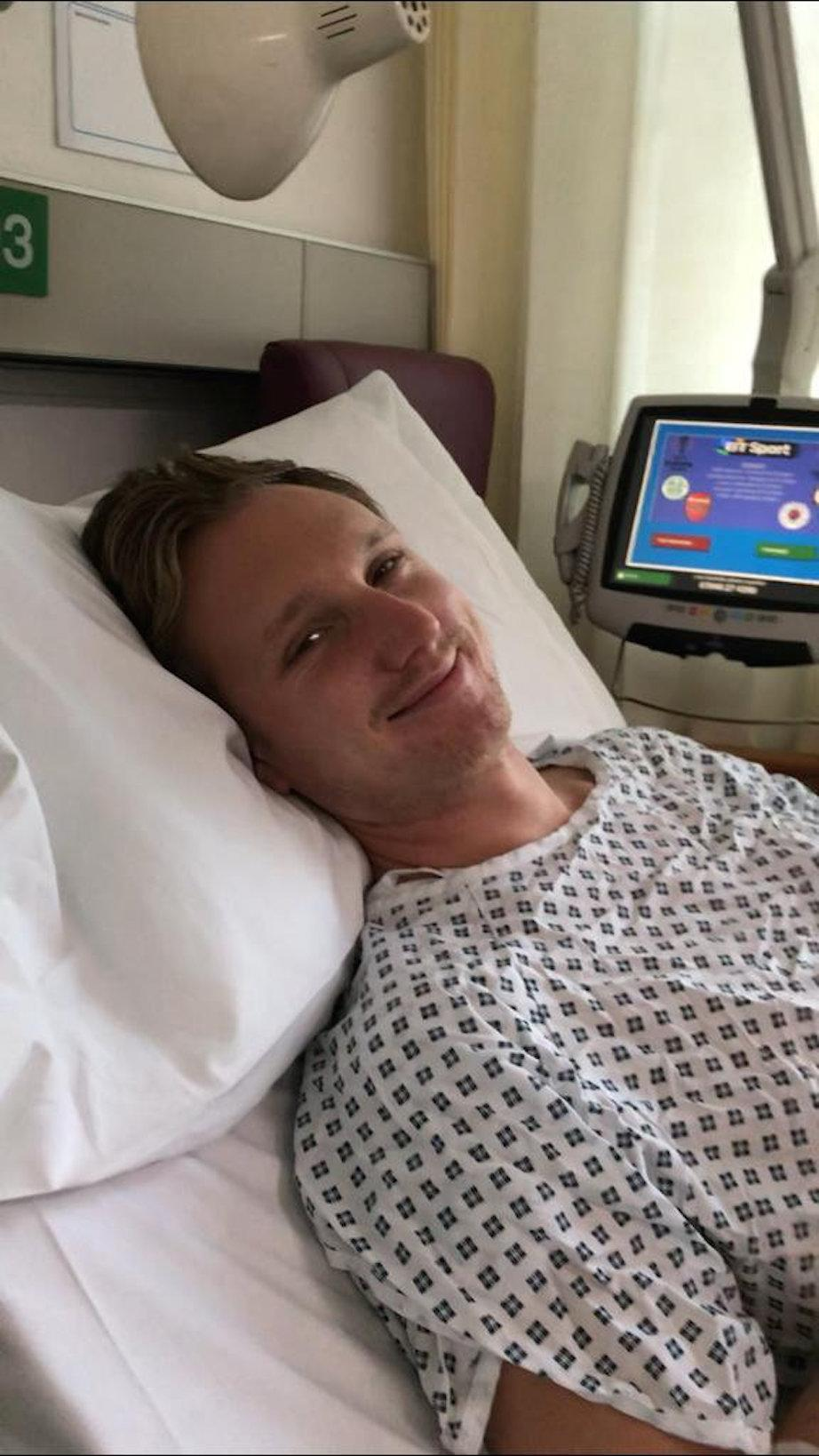 James Michael in Chelsea and Westminster Hospital in December 2018 (Picture: SWNS)