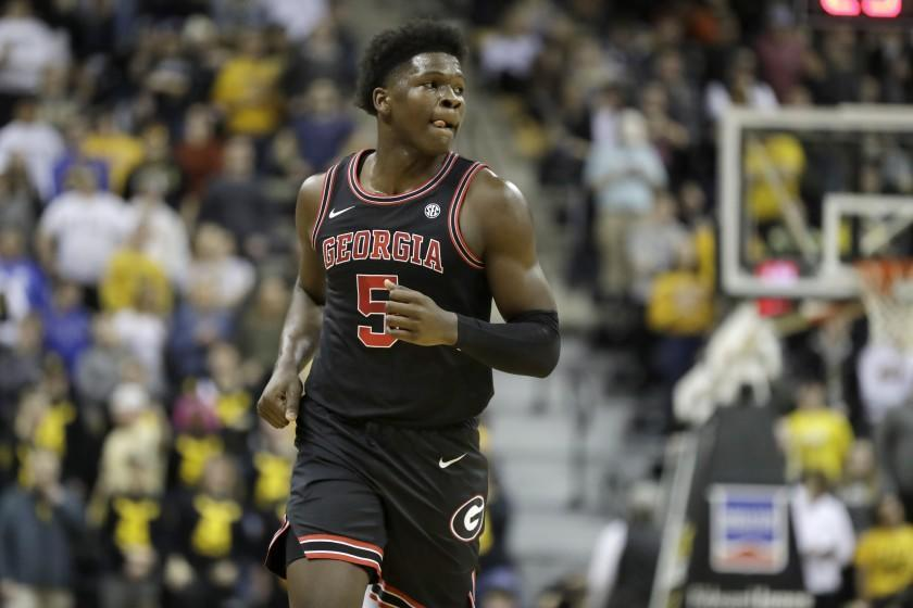 Georgia's Anthony Edwards jogs down the court during the first half of an NCAA college basketball game against Missouri Tuesday, Jan. 28, 2020, in Columbia, Mo. (AP Photo/Jeff Roberson)