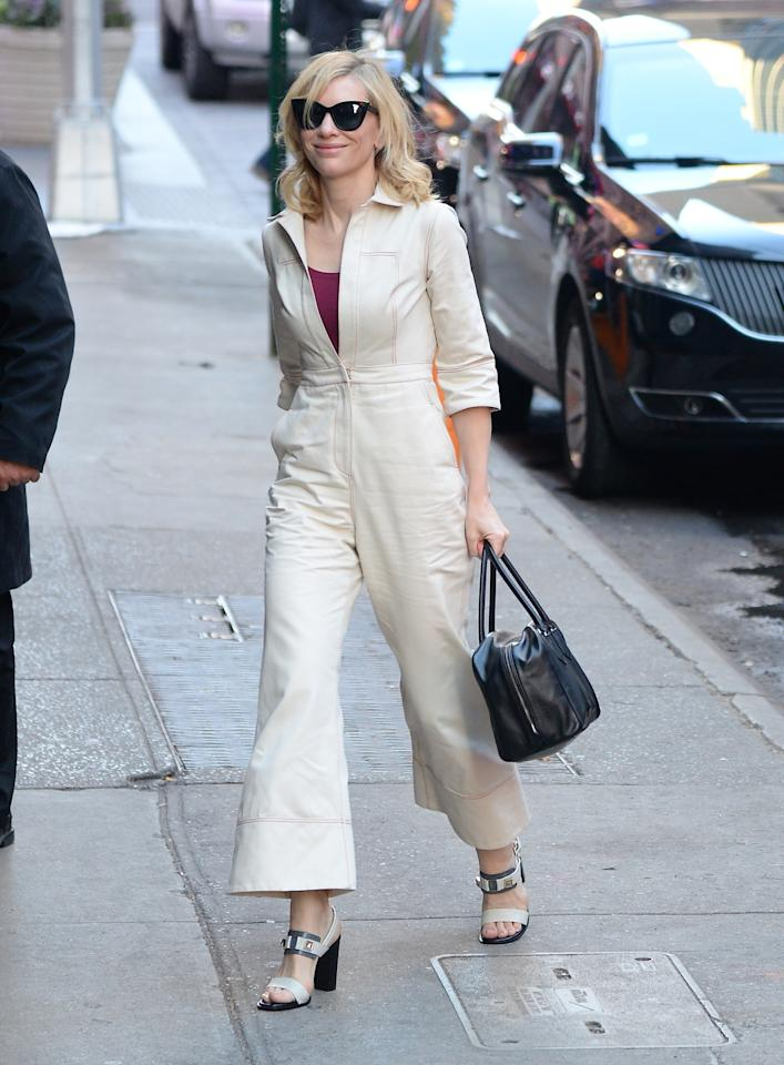 <p>On her way to her appearance on <i>GMA, </i>Blanchett wore a croppedcream jumpsuit like a boss.<i> Photo: Getty</i></p>