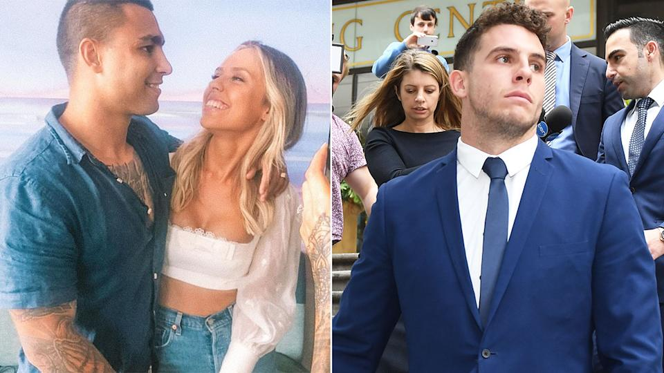Pictured here, Michael Lichaa with his fiancee and a photo of former Bulldogs teammate Adam Elliot.