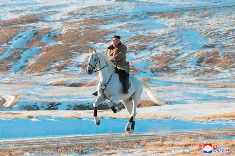 North Korean leader Kim Jong Un rode a white horse up Mount Paektu, according to the North Korean government.