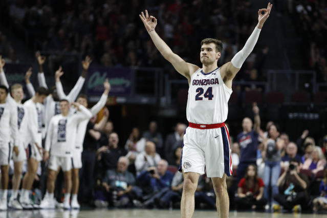 Gonzaga was one of several teams to officially punch its ticket to the NCAA tournament on Tuesday night after it beat Saint Mary's in the WCC tournament championship game. (AP/John Locher)