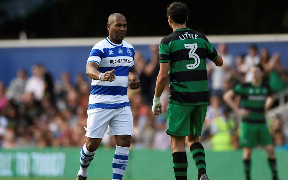 Les Ferdinand playing in the Game4Grenfell Charity football match in 2017. - REUTERS