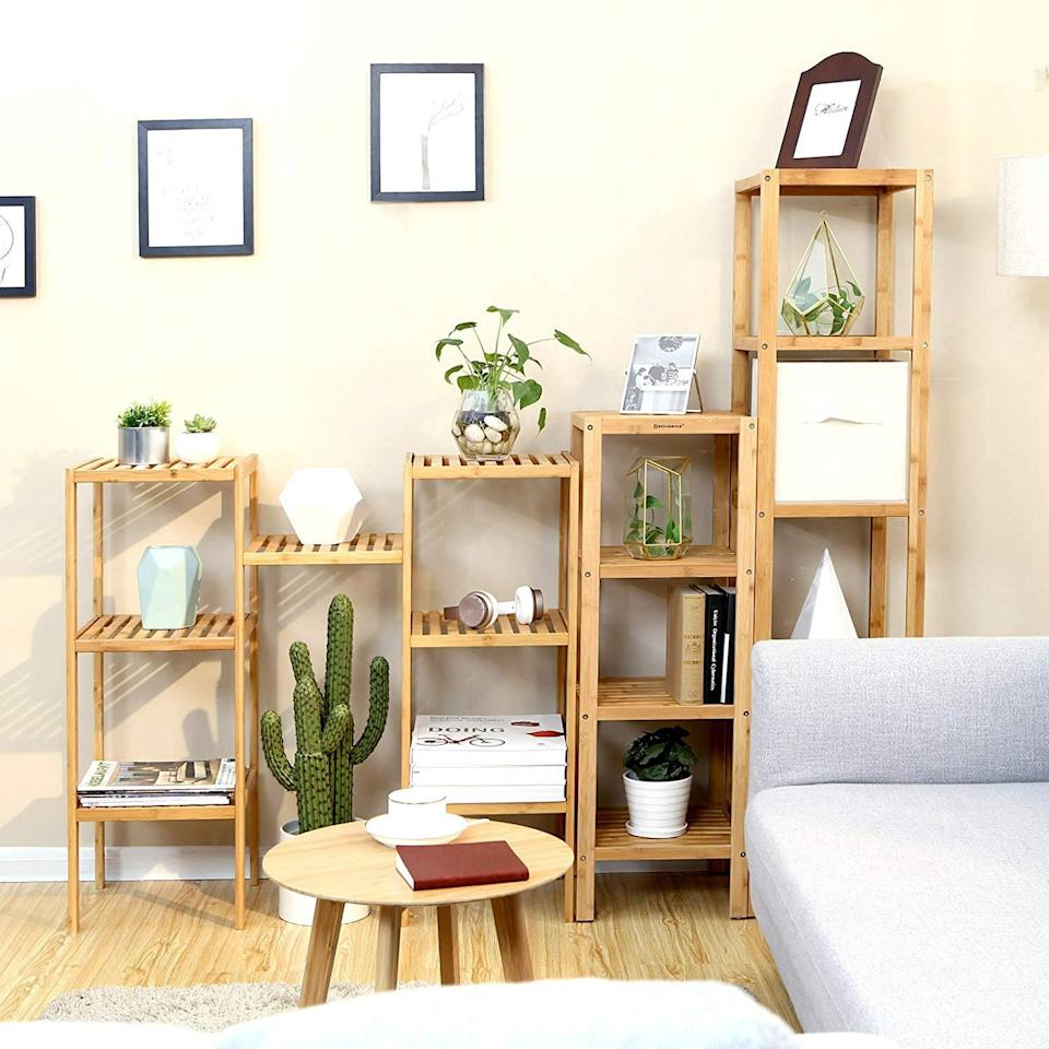 """<h3><a href=""""https://amzn.to/33o0LbE"""" rel=""""nofollow noopener"""" target=""""_blank"""" data-ylk=""""slk:100% Bamboo Shelf"""" class=""""link rapid-noclick-resp"""">100% Bamboo Shelf</a></h3><br><strong>Angelina</strong><br><br><strong>How She Discovered It: </strong>""""I was searching for furniture that would help maximize the space in my tiny (and I mean really tiny) room in NYC.""""<br><br><strong>Why It's A Hidden Gem: </strong>""""I had a really odd indent in my room that created an extra 14 x 14 corner (if that makes sense) and I wanted to make the most of it! I couldn't find anything that was the correct dimensions and basically scoured all over until I found this standing storage rack. I know it says it's a bathroom rack but I think it looks pretty cute in a bedroom AND it was extremely easy to put together.""""<br><br><strong>SONGMICS</strong> 100% Bamboo 4-Tier Shelf, $, available at <a href=""""https://amzn.to/33o0LbE"""" rel=""""nofollow noopener"""" target=""""_blank"""" data-ylk=""""slk:Amazon"""" class=""""link rapid-noclick-resp"""">Amazon</a>"""