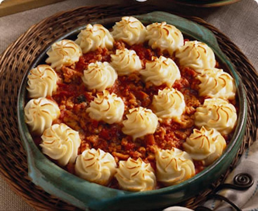 "<p>This recipe is as easy as pie. For those nights when you need a shortcut, a few prepared items thrown into the mix can truly come to the rescue. Veggie-loaded pasta sauce provides tons of flavors without all the chopping and mincing typically needed for a shepherd's pie.</p> <p><a href=""https://www.thedailymeal.com/recipes/turkey-and-vegetable-shepherds-pie-recipe?referrer=yahoo&category=beauty_food&include_utm=1&utm_medium=referral&utm_source=yahoo&utm_campaign=feed"" rel=""nofollow noopener"" target=""_blank"" data-ylk=""slk:For the Turkey and Vegetable Shepherd's Pie recipe, click here"" class=""link rapid-noclick-resp"">For the Turkey and Vegetable Shepherd's Pie recipe, click here</a>.</p>"