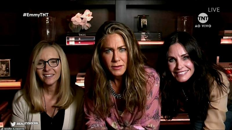 Jennifer Aniston was joined by her Friends co-stars Courtney Cox and Lisa Kudrow. Photo: ABC