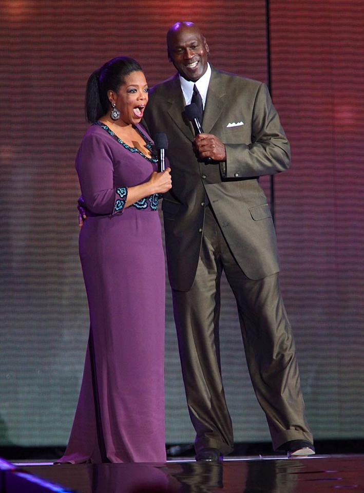 "Oprah Winfrey was joined by another person who has had a big impact on Chicago, NBA great Michael Jordan. Barry Brecheisen/<a href=""http://www.wireimage.com"" target=""new"">WireImage.com</a> - May 17, 2011"