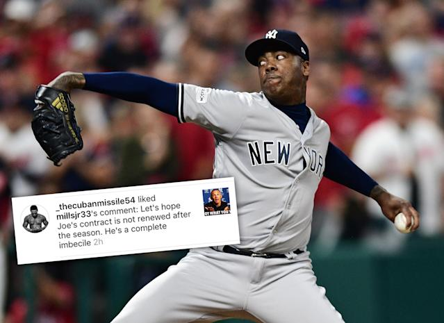 Yankees closer Aroldis Chapman appears to disapprove of his manager's decision. (AP)