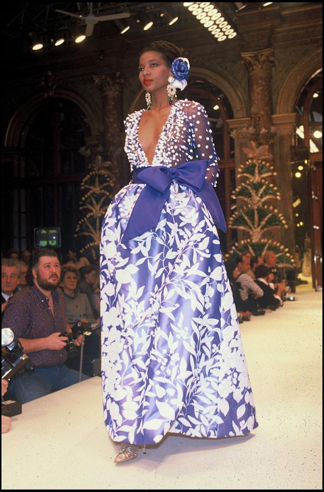 A model walks the runway at Givenchy's 1987 spring/summer couture presentation.