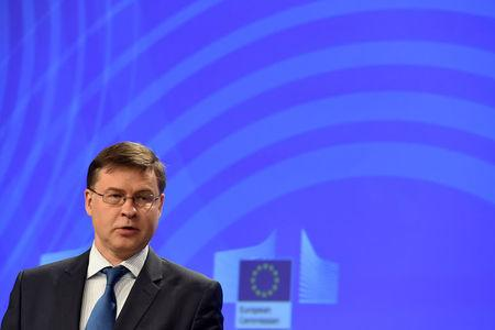 EC Vice-President Dombrovskis holds a news conference in Brussels