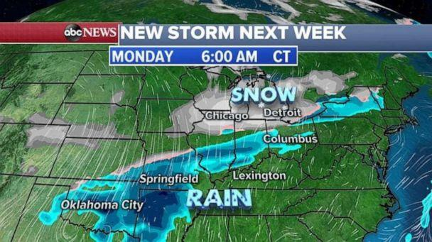 PHOTO: The new storm system will already be moving through the Midwest with snow from Chicago to Detroit. (ABC News)