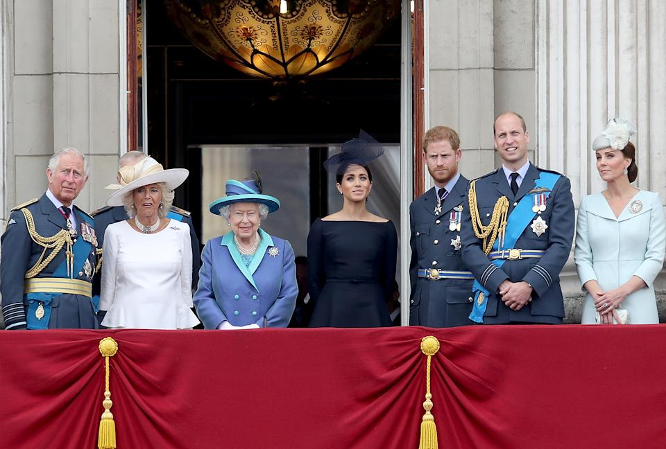 The British royal family on the balcony of Buckingham Palace, as members of the Royal Family attend events to mark the centenary of the RAF on July 10, 2018 in London, England.