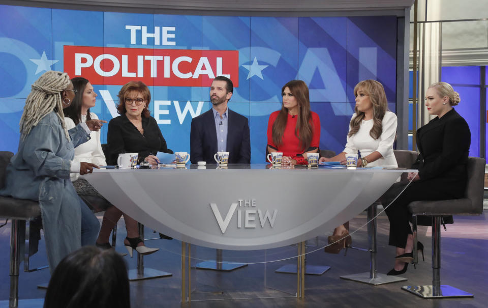 Donald Trump Jr. and Kimberly Guilfoyle's Nov. 7 appearance on The View says a ratings boost. (Photo: Lou Rocco/ABC via Getty Images)