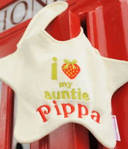 Uncle Harry might be inspired to buy the baby a gift when he sees this bib from UK-based bib-makers, beauty & the bib.