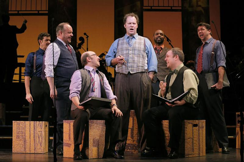 "This Jan. 29, 2013 photo released by New York City Center shows Shuler Hensley and the cast during a performance of ""Fiorello!"" in the Encores! series at New York City Center in New York. (AP Photo/New York City Center, Joan Marcus)"