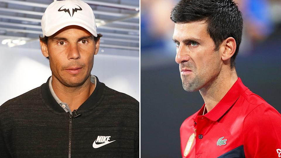 Pictured here, Rafa Nadal and his tennis rival Novak Djokovic.