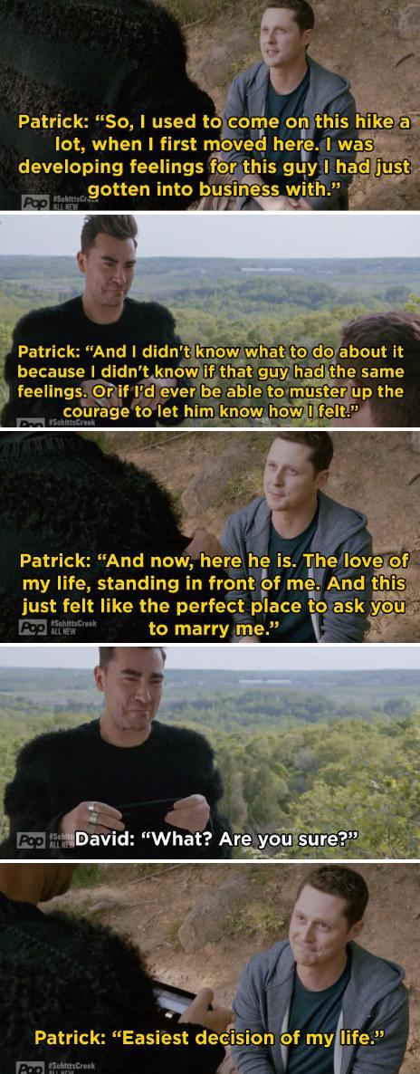 """Patrick proposing to David: """"Now here he is, the love of my life, standing in front of me. And this just felt like the perfect place to ask you to marry me"""""""