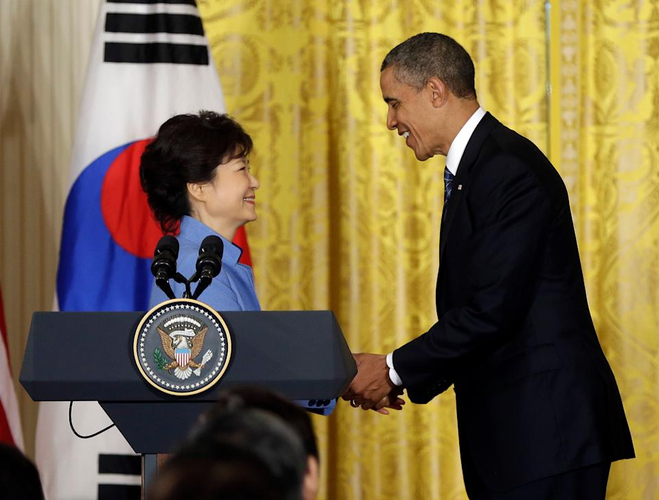 President Barack Obama and South Korea President Park Geun-Hye shake hands at the conclusion of their joint news conference in the East Room of the White House in Washington, Tuesday, May 7, 2013.