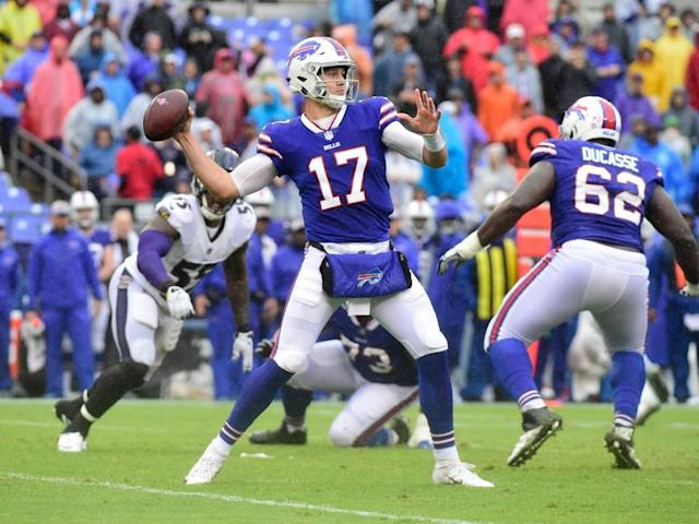 Josh Allen drops back to throw a pass against the Baltimore Ravens (USA Today Sports)