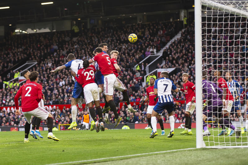 MANCHESTER, ENGLAND - NOVEMBER 10: Lewis Dunk of Brighton & Hove Albion scores his side's first goal to make the score 2-1 during the Premier League match between Manchester United and Brighton & Hove Albion at Old Trafford on November 10, 2019 in Manchester, United Kingdom. (Photo by Daniel Chesterton/Offside/Offside via Getty Images)