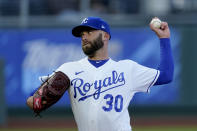 Kansas City Royals starting pitcher Danny Duffy throws during the first inning of a baseball game against the Tampa Bay Rays, Monday, April 19, 2021, in Kansas City, Mo. (AP Photo/Charlie Riedel)