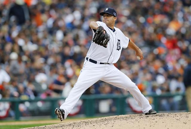 Detroit Tigers pitcher Jose Alvarez throws during the fifth inning of Game 3 of an American League baseball division series against the Oakland Athletics in Detroit, Monday, Oct. 7, 2013. (AP Photo/Paul Sancya)