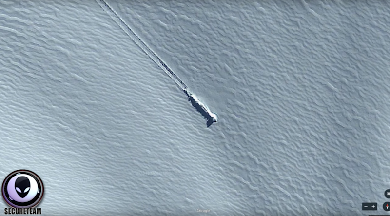 The narrator points out the perfectly shaped 'sharp' trail indicates something more than a landslide. Photo: Youtube/Secure Team 10