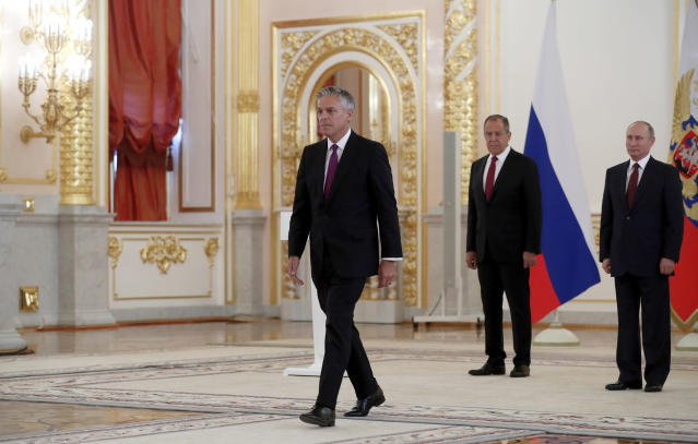 U.S. Ambassador Jon Huntsman after meeting with Russian President Vladimir Putin. (Photo: Pavel Golovkin/AP)