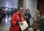 FILE - In this Nov. 28, 2018, file photo Rep. Marcia Fudge, D-Ohio, who declined to enter the speaker's race after securing concessions from Democratic Leader Nancy Pelosi, arrives for the Democratic Caucus leadership elections at the Capitol in Washington. At Agriculture and the Department of Housing and Urban Development, Fudge and California Rep. Karen Bass, respectively, are being considered by President-elect Joe Biden to be a part of the administration. (AP Photo/J. Scott Applewhite, File)