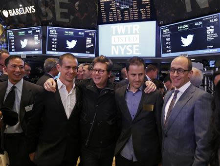 Twitter executives Dick Costolo (R), Evan Williams (2nd R), Biz Stone (C) and Jack Dorsey (2nd L) celebrate as Twitter IPO begins on the floor of the New York Stock Exchange in New York, November 7, 2013. REUTERS/Lucas Jackson