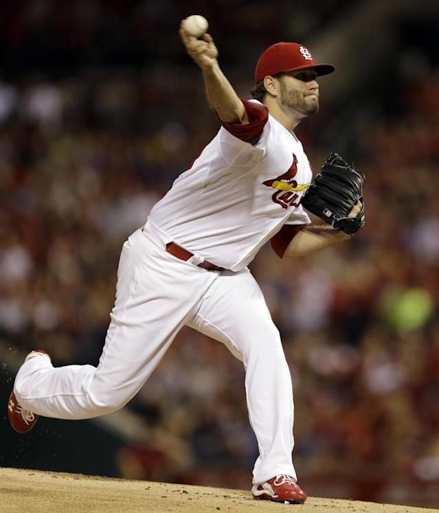 St. Louis Cardinals starting pitcher Lance Lynn throws during the first inning of a baseball game against the Chicago Cubs Friday, Sept. 27, 2013, in St. Louis. (AP Photo/Jeff Roberson)