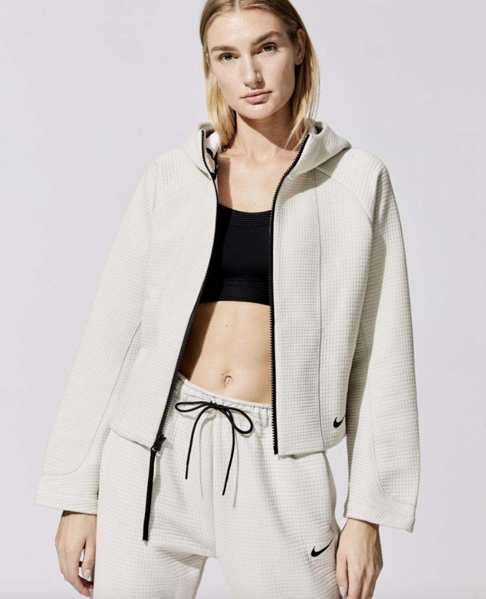 <p>You can't go wrong with this sporty chic <span>Nike Sportswear Tech Fleece Engineered All-Over Jacquard Full Zip Hoodie</span> ($130).</p>