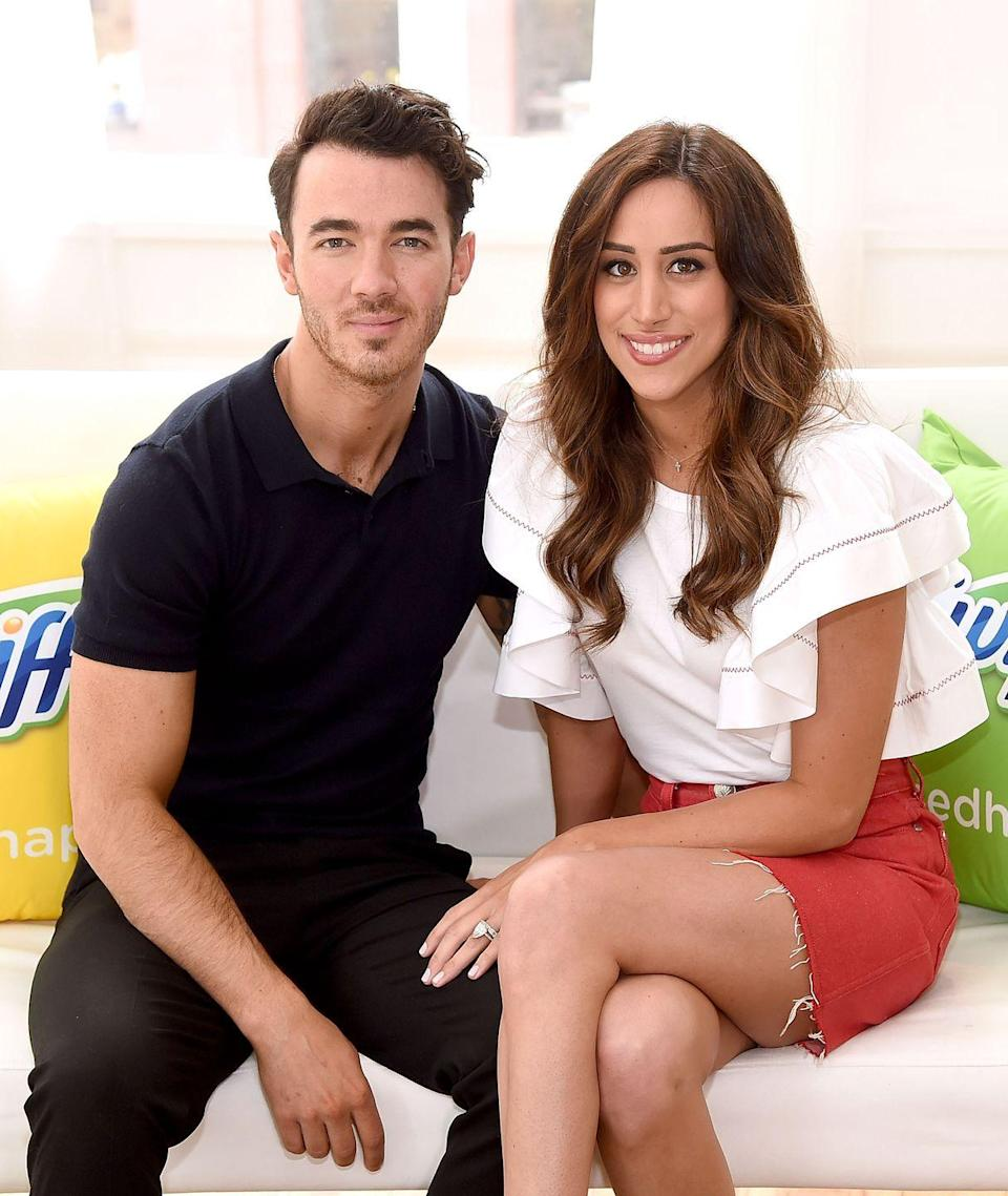 """<p>The eldest Jonas brother, Kevin married Danielle in 2009 where his two brothers and bandmates Joe and <a href=""""https://www.elle.com/uk/life-and-culture/culture/a28959650/priyanka-chopra-nick-jonas-missed-mtv-vmas/"""" rel=""""nofollow noopener"""" target=""""_blank"""" data-ylk=""""slk:Nick Jonas"""" class=""""link rapid-noclick-resp"""">Nick Jonas </a>served as co-best men. The couple have two daughters Alena and Valentina and Danielle, a former hairdresser, is regularly seen backstage and <a href=""""https://www.elle.com/uk/life-and-culture/a30559358/sophie-turner-priyanka-chopra-jonas-brothers-new-video/"""" rel=""""nofollow noopener"""" target=""""_blank"""" data-ylk=""""slk:in videos with her 'Jonas sisters', Priyanka Chopra and Sophie Turner."""" class=""""link rapid-noclick-resp"""">in videos with her 'Jonas sisters', Priyanka Chopra and Sophie Turner.</a></p>"""