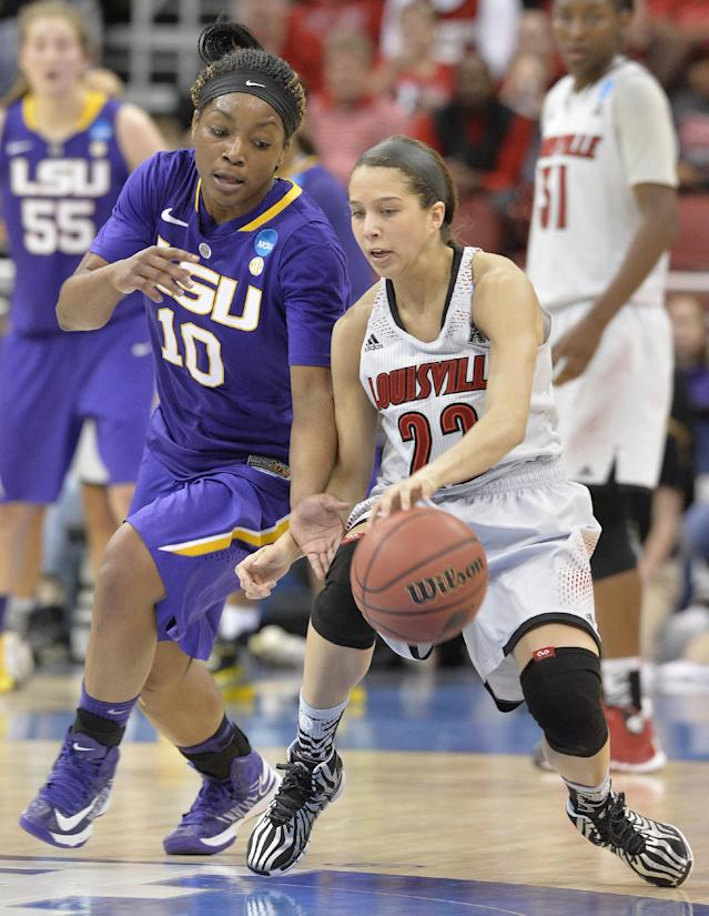 LSU's Jasmine Rhodes, left, attempts to steal the ball from Louisville's Jude Schimmel during the first half in a regional semifinal game at the NCAA women's college basketball tournament on Sunday, March 30, 2014, in Louisville, Ky. (AP Photo/Timothy D. Easley)