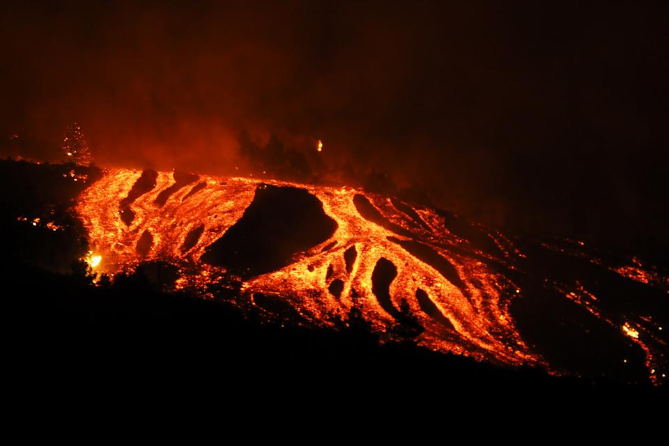 The Cumbre Vieja volcano in La Palma, one of Spain's Canary Islands erupted on Sunday, on September 19, 2021. (Photo by AcfiPress/NurPhoto via Getty Images)