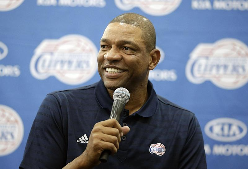 Los Angeles Clippers head coach Glenn Rivers talks to reporters during the team's NBA basketball media day on Monday, Sept. 30, 2013, in Los Angeles. (AP Photo/Jae C. Hong)