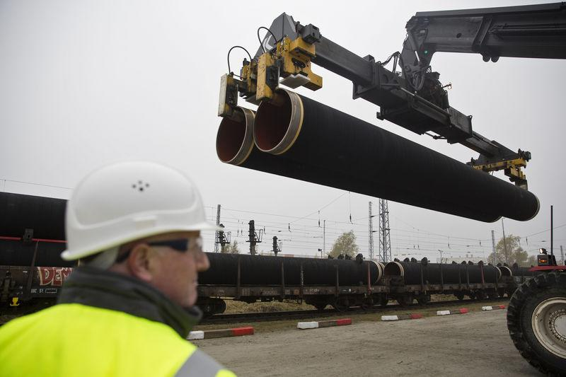 A handout by Nord Stream 2 claims to show the first pipes for the Nord Stream 2 pipeline being delivered by rail to the German logistics hub Mukran on the island of Rugen