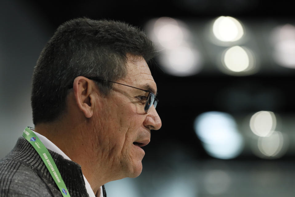 Ron Rivera says he was diagnosed with cancer two weeks ago. (AP Photo/Charlie Neibergall)