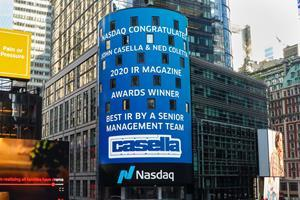 John W. Casella and Ned Coletta honored for their recent award on the Nasdaq Tower. New York, New York, October 2, 2020.
