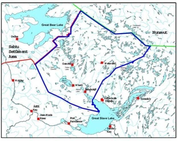 The Tłı̨chǫ government co-manages resource development on a 160,000 square kilometer area between Great Bear Lake and Great Slave Lake. The area is more than twice the size of New Brunswick. (Crown-Indigenous Relations and Northern Affairs Canada - image credit)