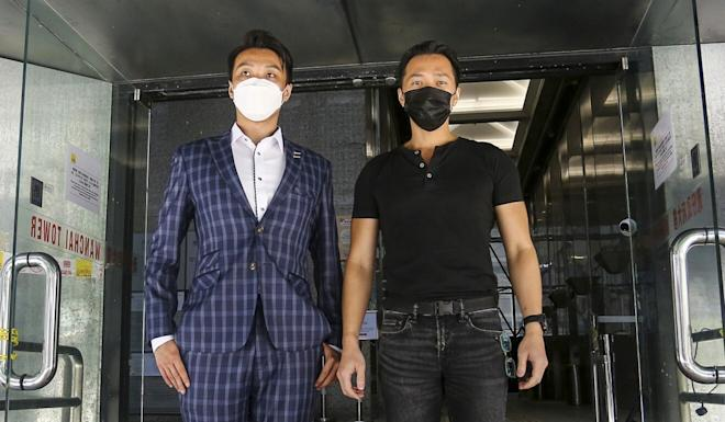 Civil Human Rights Front convenor Jimmy Sham (left) and Law Kwok-wai leave District Court in July after testifying about the attack. Photo: Jonathan Wong