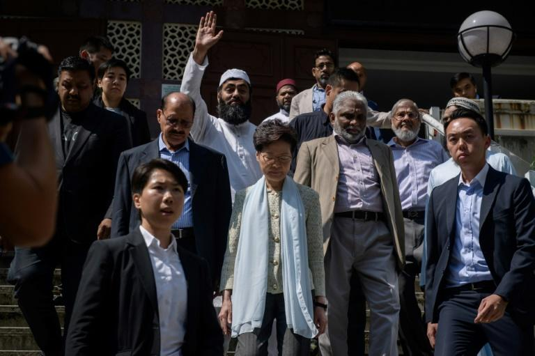 Kowloon Mosque representatives said Hong Kong leader Carrie Lam apologised for the dye incident, and that it was accepted (AFP Photo/Ed JONES)
