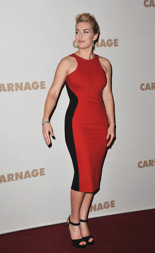 Celebrity fashion: Kate Winslet has also worn this stunning red and black optical illusion dress. With amazing curves like hers, the look is a winner every time.