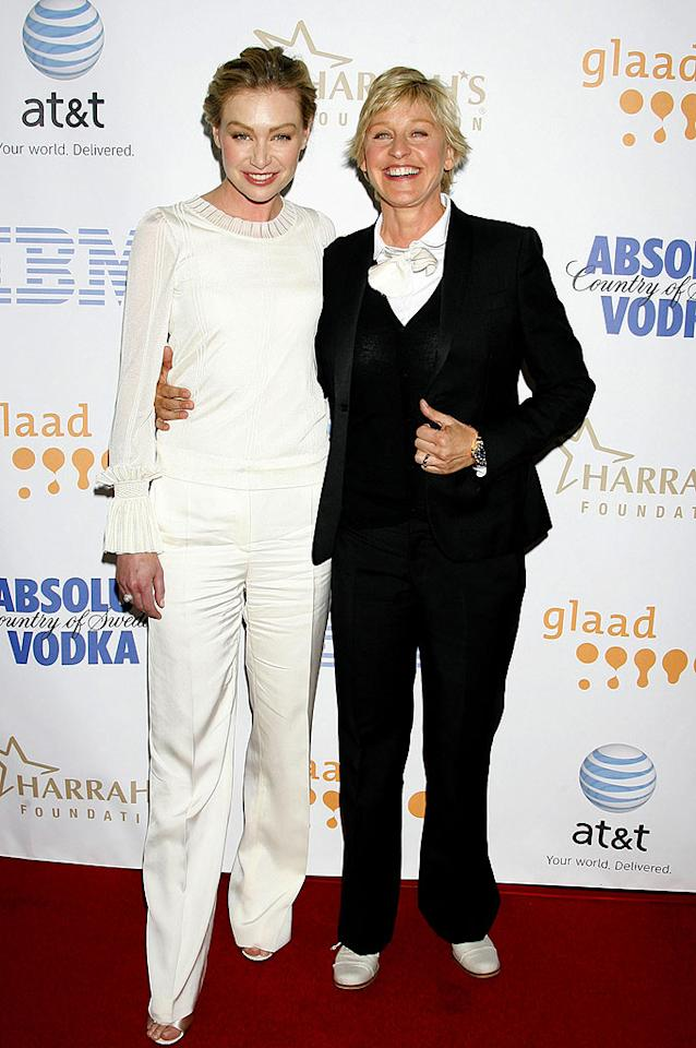 """Portia de Rossi joins girlfriend Ellen DeGeneres at the event, which recognizes and honors media for their fair, accurate, and inclusive representations of the lesbian, gay, bisexual, and transgender (LGBT) community and the issues that affect their lives. Jeffrey Mayer/<a href=""""http://www.wireimage.com"""" target=""""new"""">WireImage.com</a> - April 26, 2008"""