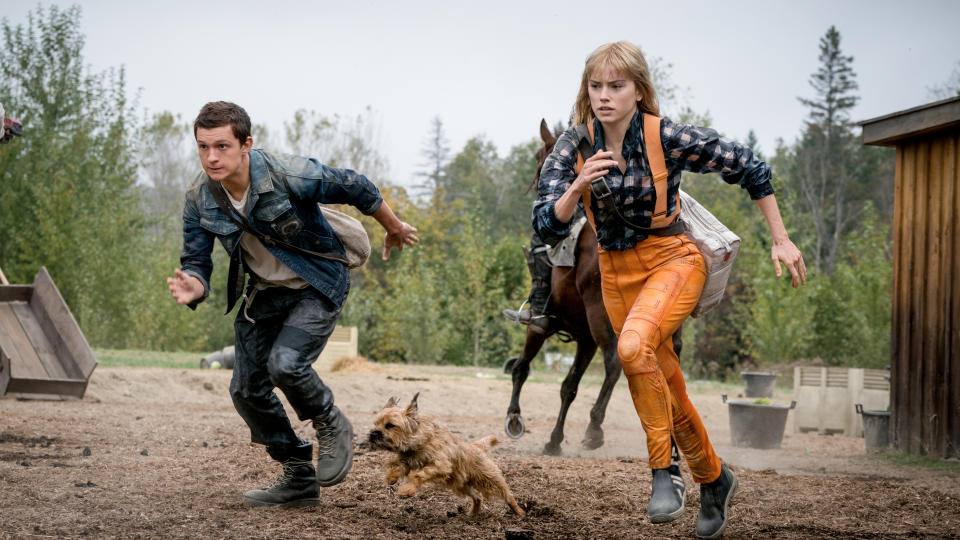 """Long-delayed and at one point reportedly <a href=""""https://uk.movies.yahoo.com/100m-tom-holland-daisy-ridley-movie-chaos-walking-thought-unreleasable-studio-110149089.html"""" data-ylk=""""slk:considered to be """"unreleasable"""" by the studio;outcm:mb_qualified_link;_E:mb_qualified_link;ct:story;"""" class=""""link rapid-noclick-resp yahoo-link"""">considered to be """"unreleasable"""" by the studio</a>, Doug Liman's take on Patrick Ness's YA novel is finally hitting the big screen. Daisy Ridley plays the young woman who arrives in New World, where there aren't any women and the thoughts of the men are audible via something known as The Noise. Tom Holland, Mads Mikkelsen and Cynthia Erivo are also in the cast. (Credit: Lionsgate)"""